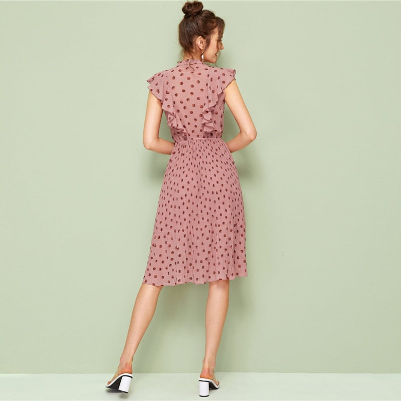 Pink Tie Neck Ruffle Trim Dot Pleated Fit and Flare Empire Dresses