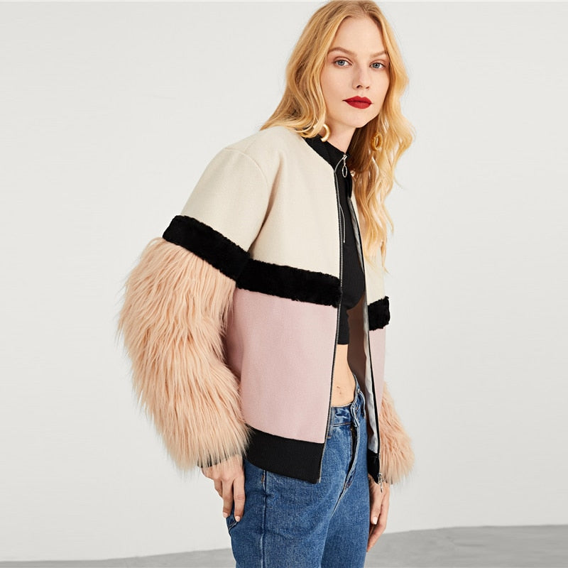 Multicolor Highstreet Faux Fur Sleeve Plaid Notched Coat