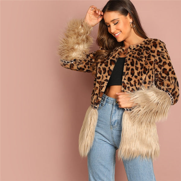 Contrast Faux Fur Leopard Long Sleeve Coat