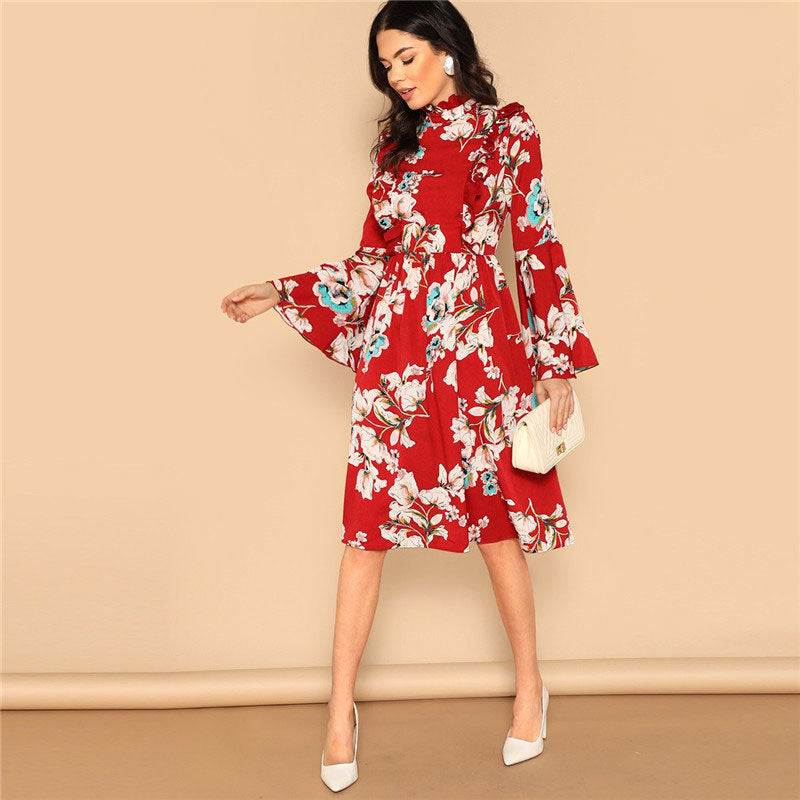 Ruffle Detail Bell Sleeve Red Flower Print Dress