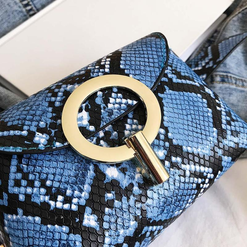 Snake Pattern Leather Belt Bag