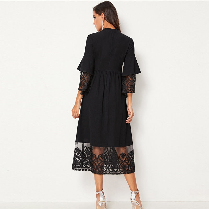Embroidered Mesh Pleated Layered Flounce Sleeve Dress