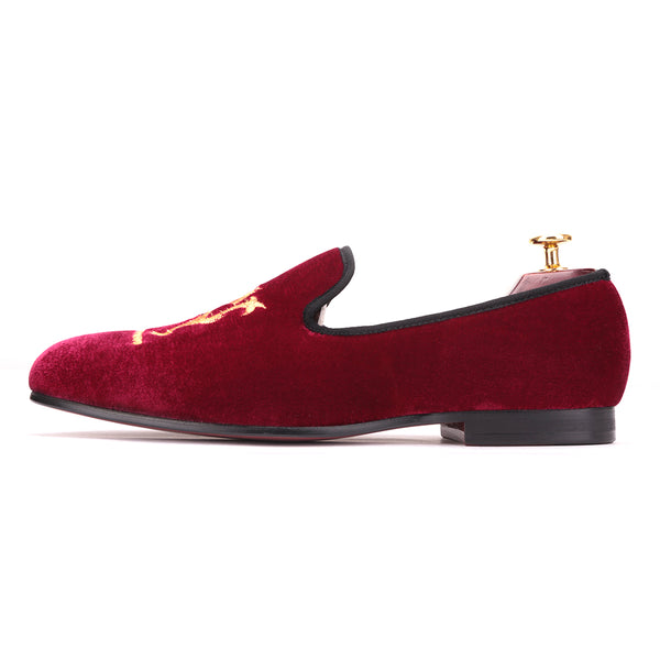 Lion Embroidery Velvet Men shoes - luxuryandme.com
