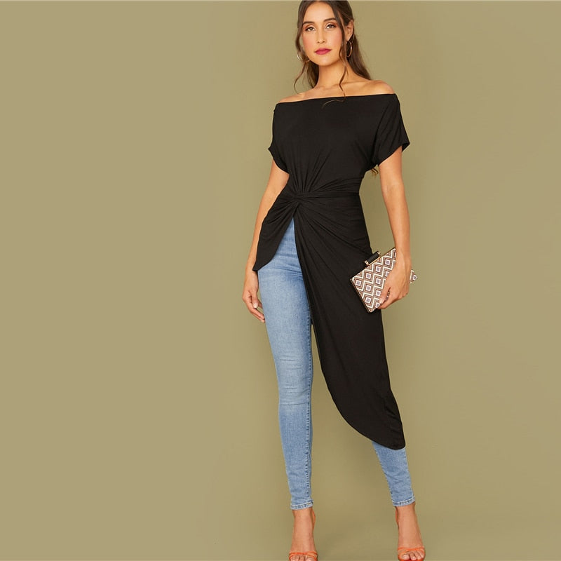 Black Off Shoulder Twist Front Asymmetrical Hem Bardot Top