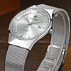 Ultra Slim Stainless Steel Mesh Band Quartz Wristwatch