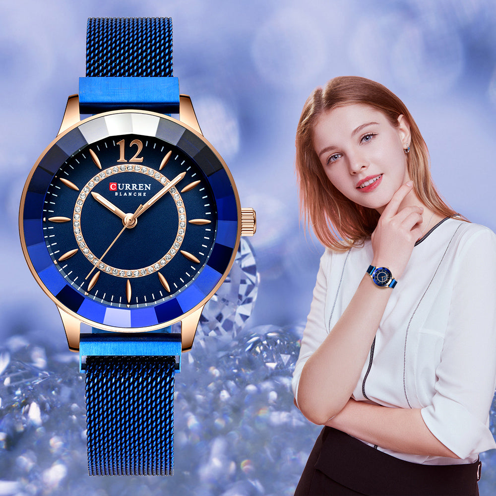 Rhinestone Fashion Quartz Mesh Steel Watch for Women