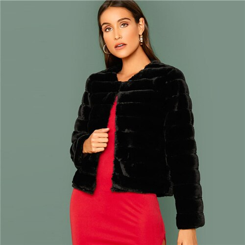 Black Elegant Faux Fur Front Open Crop Coat