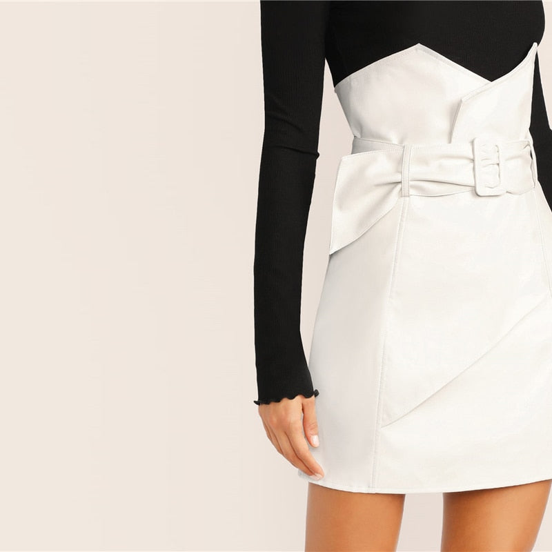 White Casual PU Leather Straight High Waist Belted Solid Wrap Mini Skirt