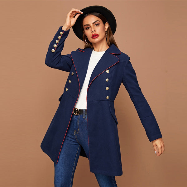 Navy Elegant Contrast Binding Detail Double Breasted Trim Outerwear Coat
