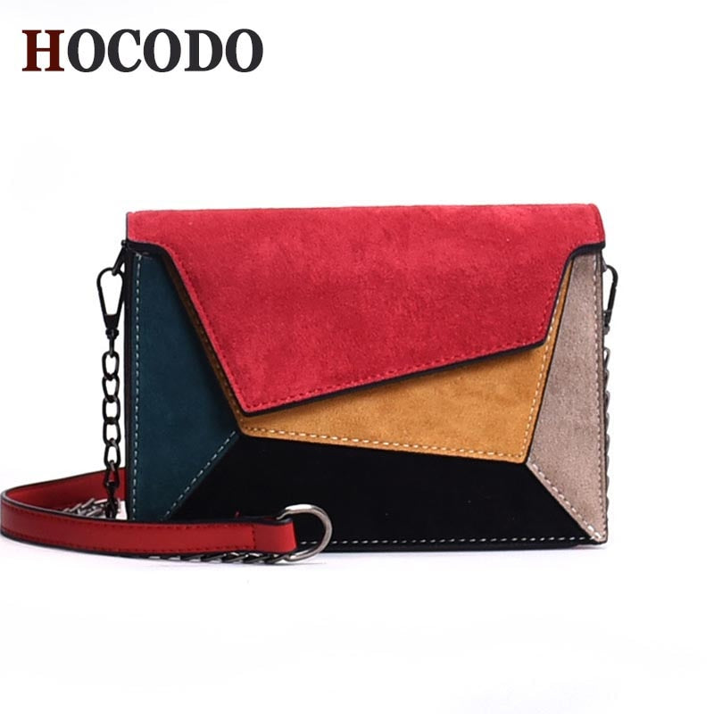 Leather Patchwork Retro Matte Crossbody Bag