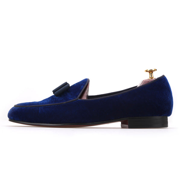 Royal Blue Velvet Handmade Loafers - luxuryandme.com