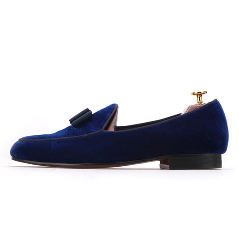 Royal Blue Velvet Handmade Loafers
