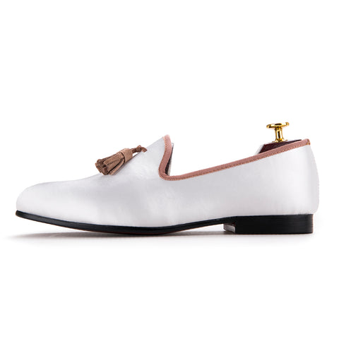 Handmade White Tassel Men's Shoe