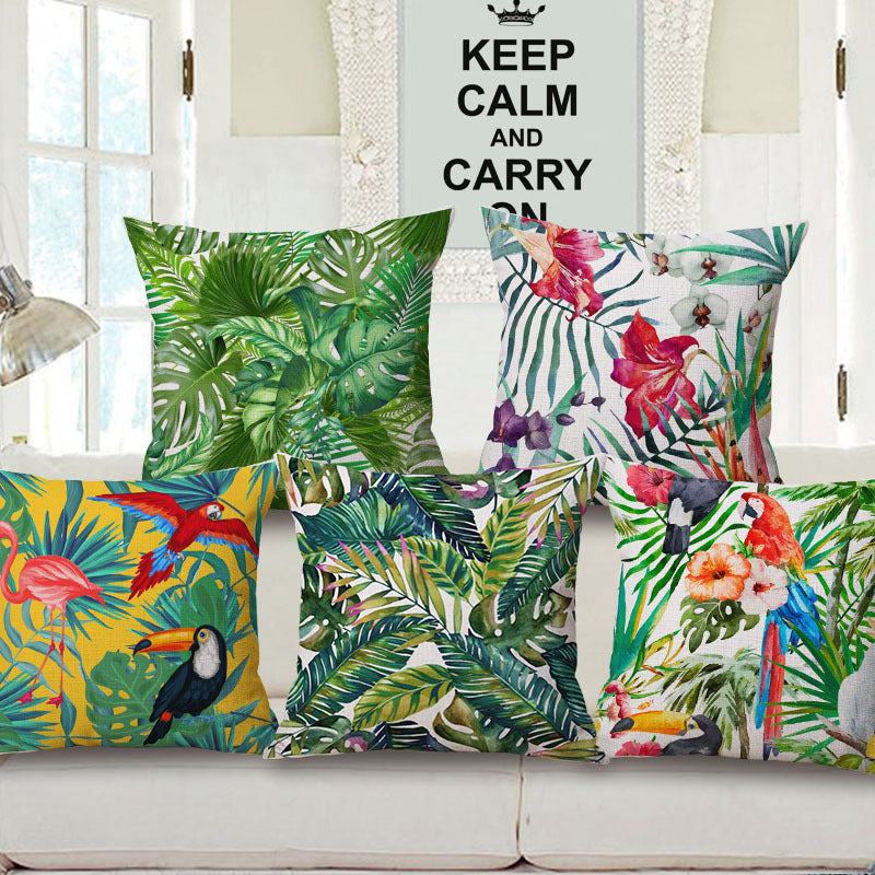 Tropical Plant Hibiscus Flower Pillow case Parrot Cushion Cover - luxuryandme.com
