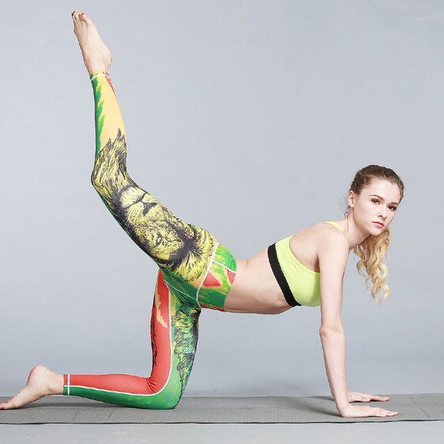 Women's Elastic Waist Stretchy Print Leggings - luxuryandme.com