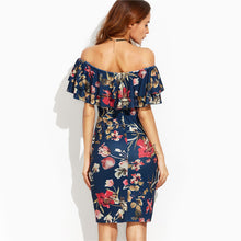 Short Sleeve Floral Off Shoulder Ruffle Sheath Dress - luxuryandme.com