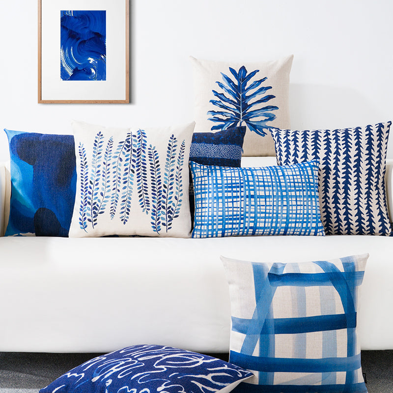 Blue Watercolor Geometric Cushion Cover - luxuryandme.com