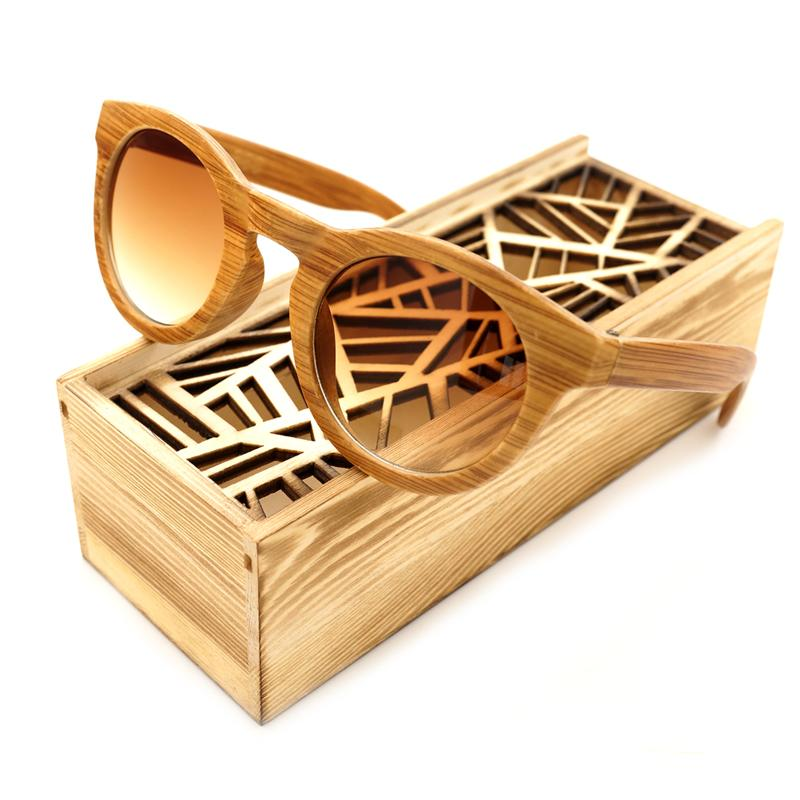 Handmade Imitative Bamboo Wood  Beach Glasses With Wooden Box - luxuryandme.com