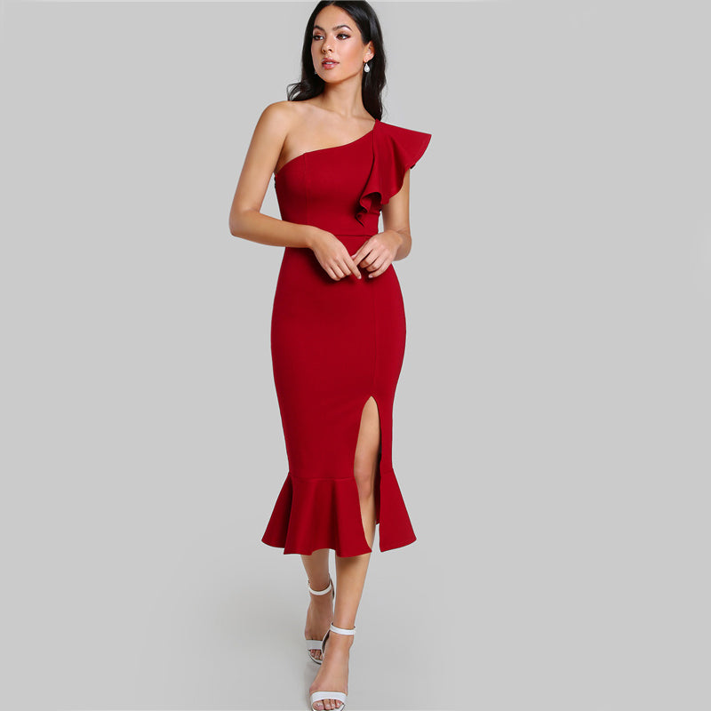 Burgundy One Shoulder Fishtail Flounce Midi Dress - luxuryandme.com