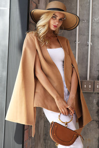 Elegant V-neck Long Sleeve Cape Belt Coat
