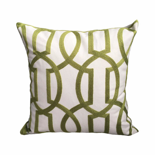 Modern Geometric Cord Embroidery Gray & Green Cotton Cushion Cover 45 x 45 cm