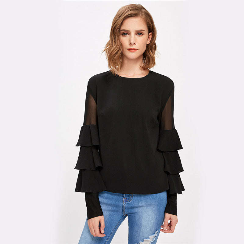 Black Long Sleeve Women's Mesh Insert Tiered Bell Sleeve Blouse - luxuryandme.com