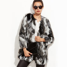 Faux Fur Fuzzy Color Block Open Front Coat