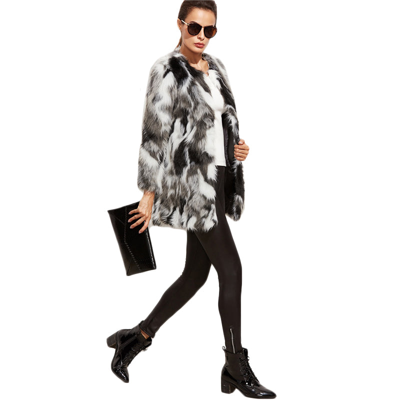 Faux Fur Fuzzy Color Block Open Front Coat - luxuryandme.com