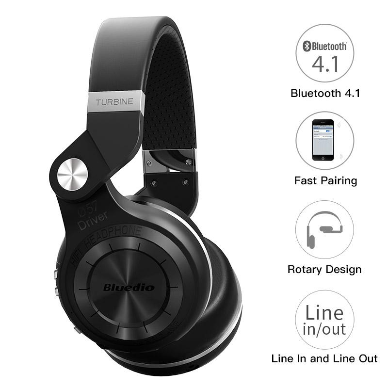 Original Bluedio T2S headphones with microphone wireless Bluetooth - luxuryandme.com