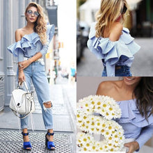 Long Sleeve  Ruffle One Shoulder Striped Shirt - luxuryandme.com