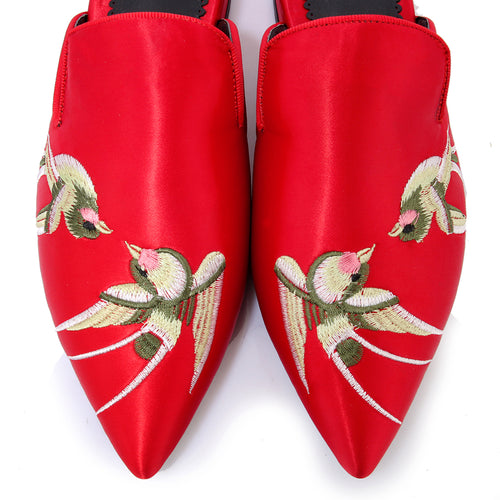 Bird Print Low Heel Mules - luxuryandme.com