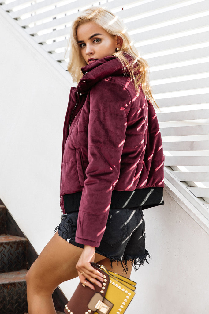 Velvet Padded Basic Jacket - luxuryandme.com