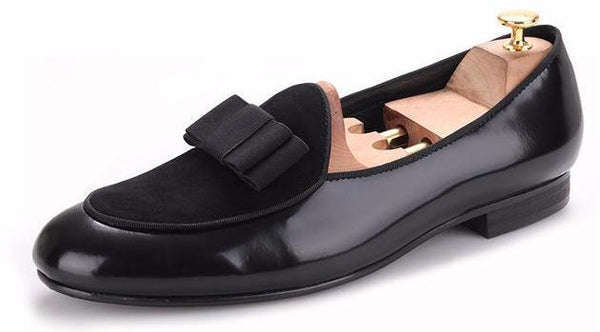 Genuine  luxurious Nubuck Leather  Bowtie  handmade  classic loafers