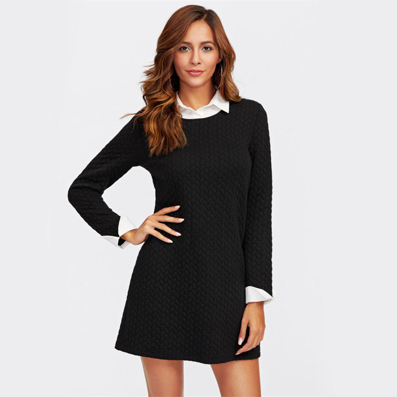 Patchwork Contrast Collar And Cuff Textured 2 In 1 Dress - luxuryandme.com