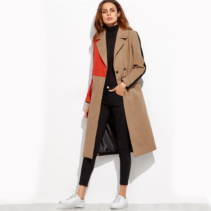 Color Block Patchwork Double Breasted Coat - luxuryandme.com