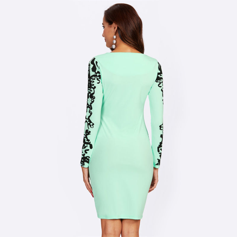 Mint Damask Print Square Neck Pencil Dress - luxuryandme.com