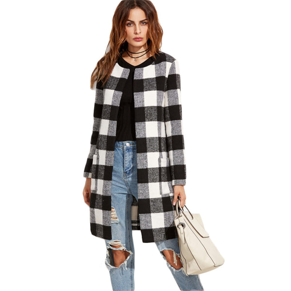 Plaid Open Front Collarless Coat