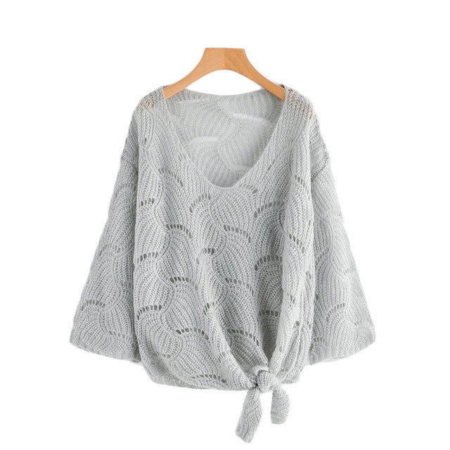 V Neckline Self Tie Knit Sweater - luxuryandme.com