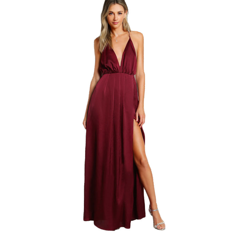 High Slit Satin Plunge Neck Cross Back Dress - luxuryandme.com