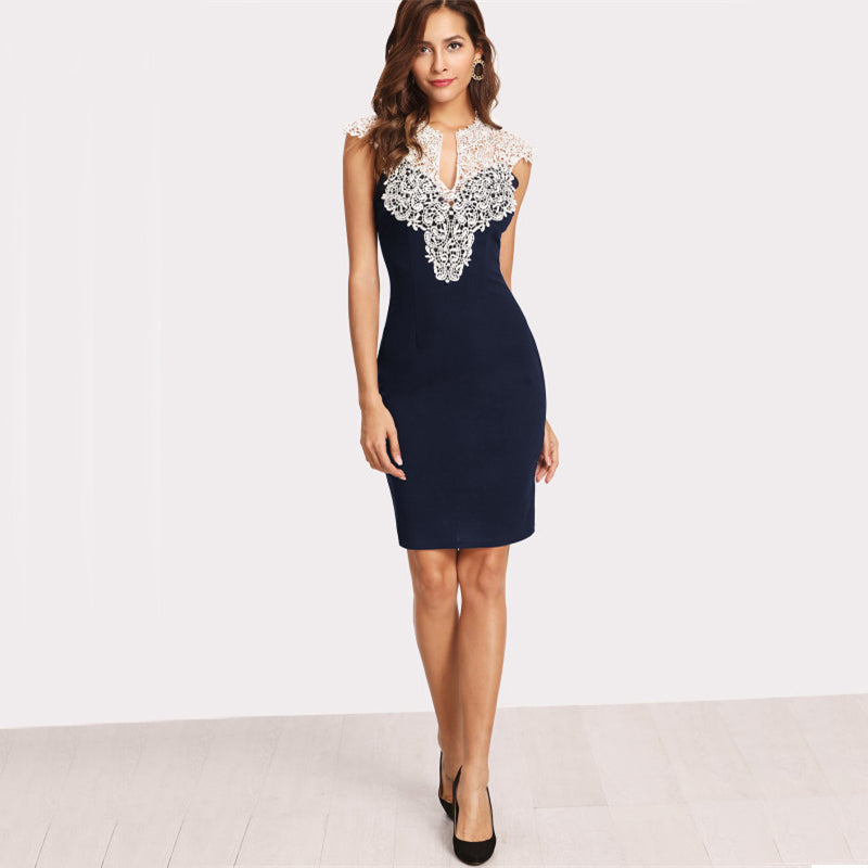 Navy Floral Lace Yoke Dress - luxuryandme.com