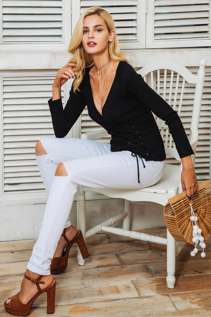Lace Up V-neck Slim Pullover Sweater - luxuryandme.com