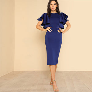Butterfly Sleeve Ruffle Zipper Bodycon Dress - luxuryandme.com