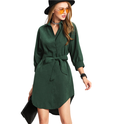 Green Turn-down Collar 3/4 Sleeve Belted Asymmetrical Shirt Dress - luxuryandme.com