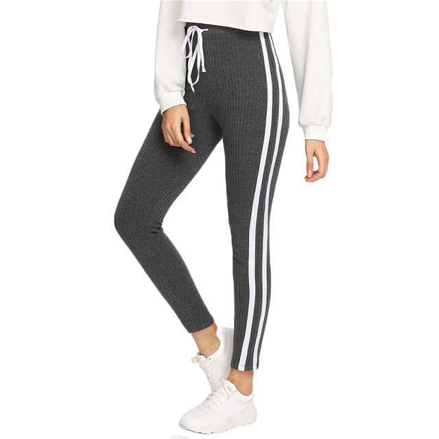 Grey Striped Drawstring Sweatpants - luxuryandme.com