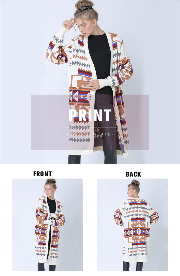 Loose Fit Tribal Aztec Digital Print Cardigan