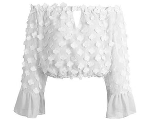 Flare sleeve applique blouse - luxuryandme.com