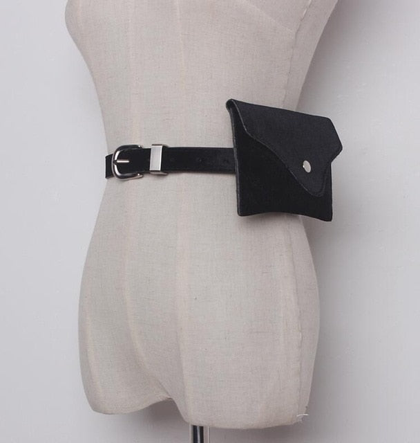 Solid Color Velvet Belt Back