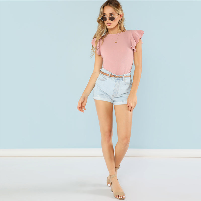 Layered Ruffle Detail Textured Bodysuit - luxuryandme.com