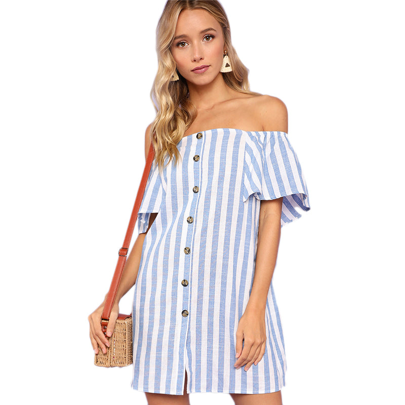 Striped Off Shoulder Button Up Short Sleeve Tunic Dress - luxuryandme.com