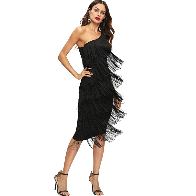 Black Solid Sleeveless Tassel Slim Dress - luxuryandme.com